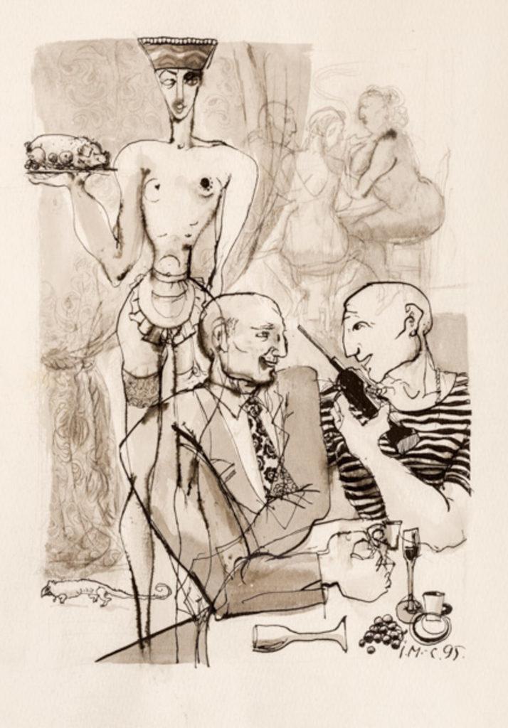 In the restaurant,artwork by Ieva Caruka