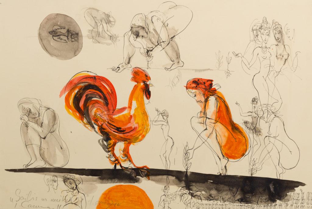 Cock and girl, artwork by Ieva Caruka