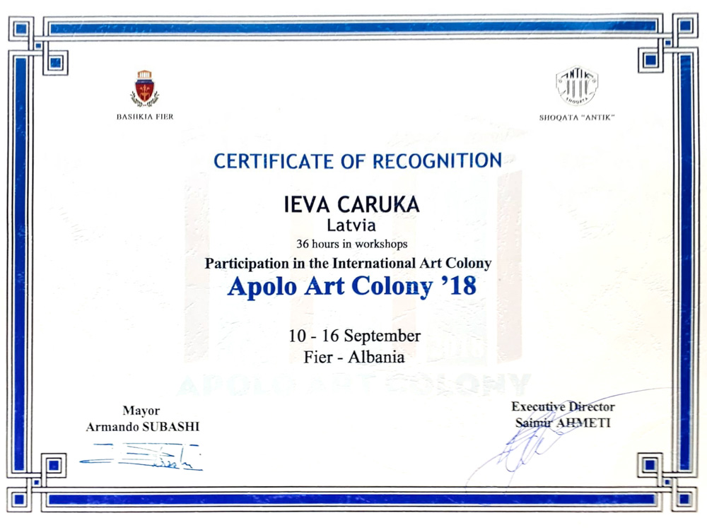 Certificate of Participation in the International Art Colony, 2018