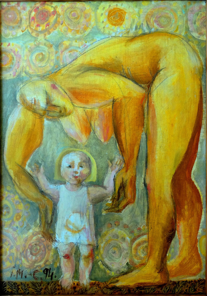 Young mother, artwork by Ieva Caruka