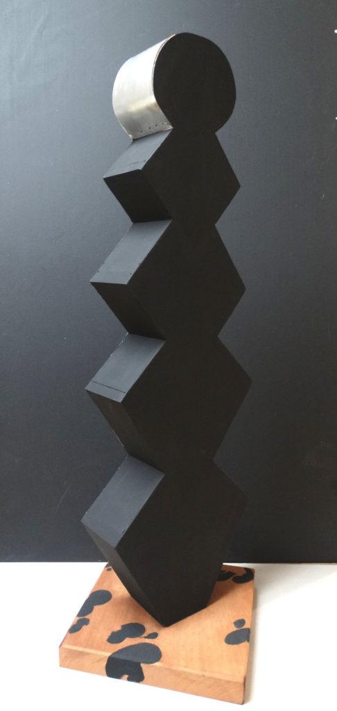 Dalmatian. Birch veneer, mahogany, aluminum, acrylic. Artwork by Ieva Caruka.